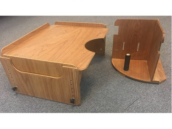 Corner chair and table for child with disability